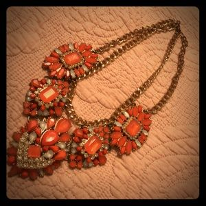 Coral and rhinestone statement necklace!